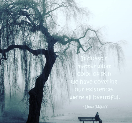 image of winter and quote.