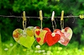 image of hanging paper hearts