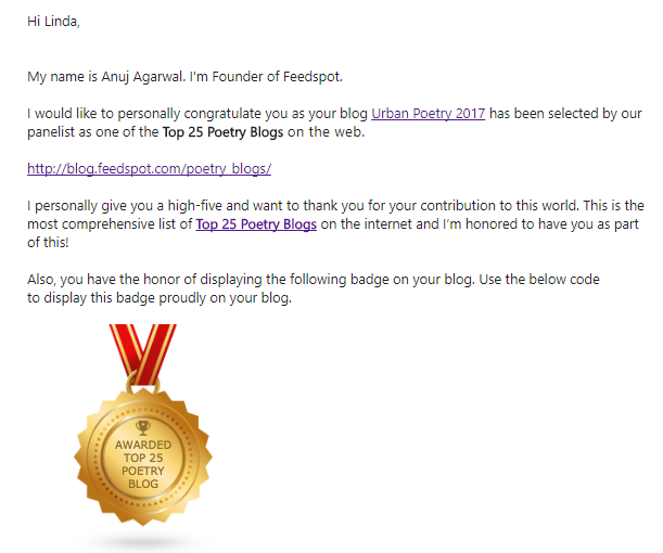"""Image of Award for """"Top 25 Poetry Blogs"""" from FeedSpot"""